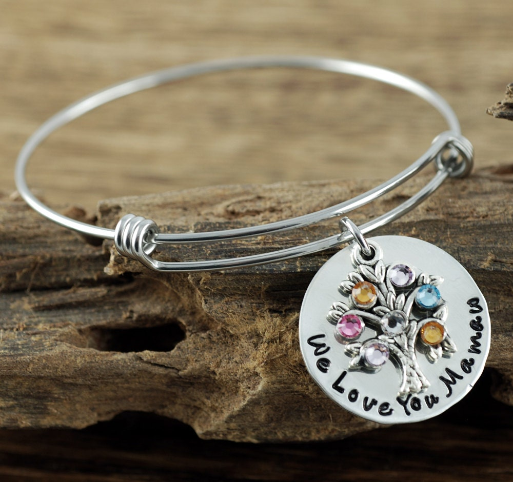 Silver Family Tree Bracelet Personalized Birthstone Bracelet