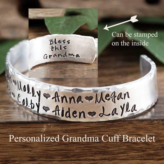 Personalized Grandma Bracelet, Grandmother Cuff Bracelet, Grandchildren's Names, Mothers Day Gift, Gift for Grandma,Christmas Gift for Her