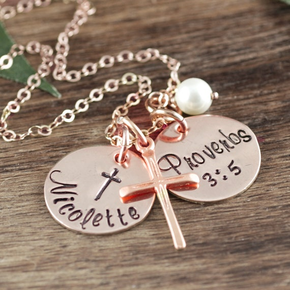 Rose Gold Personalized Communion Necklace, Confirmation Jewelry, Gift for Girl, Communion Cross Pendant, Cross Necklace, Confirmation Gift