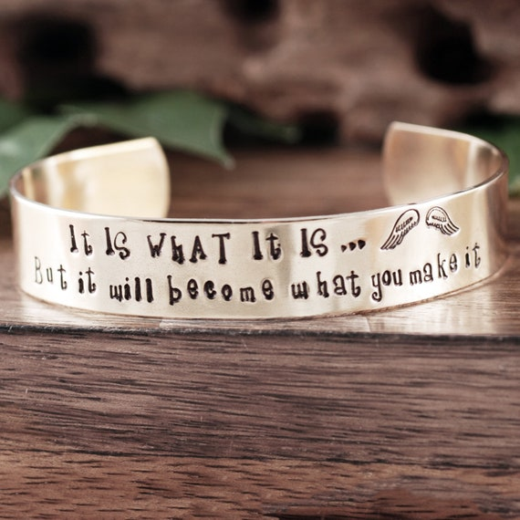 It is what it is Memorial Bracelet, Inspirational Jewelry, Encouragement Gift, Quote Jewelry, Inspirational Bracelet, Gift for Her