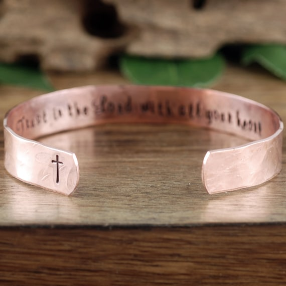 Trust in the Lord, Proverbs 3:5, Bible Verse Jewelry, Personalized Confirmation Bracelet, Custom Cuff Bracelet, Religious Gift