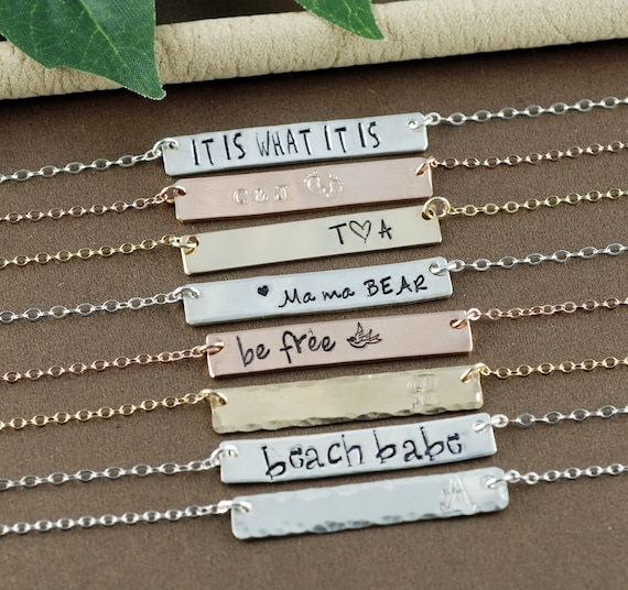 Gold Bar Necklace, Personalized Name Necklace, Layering Bar Necklace, Name Plate Necklace, Silver Bar, Rose Gold Bar Necklace