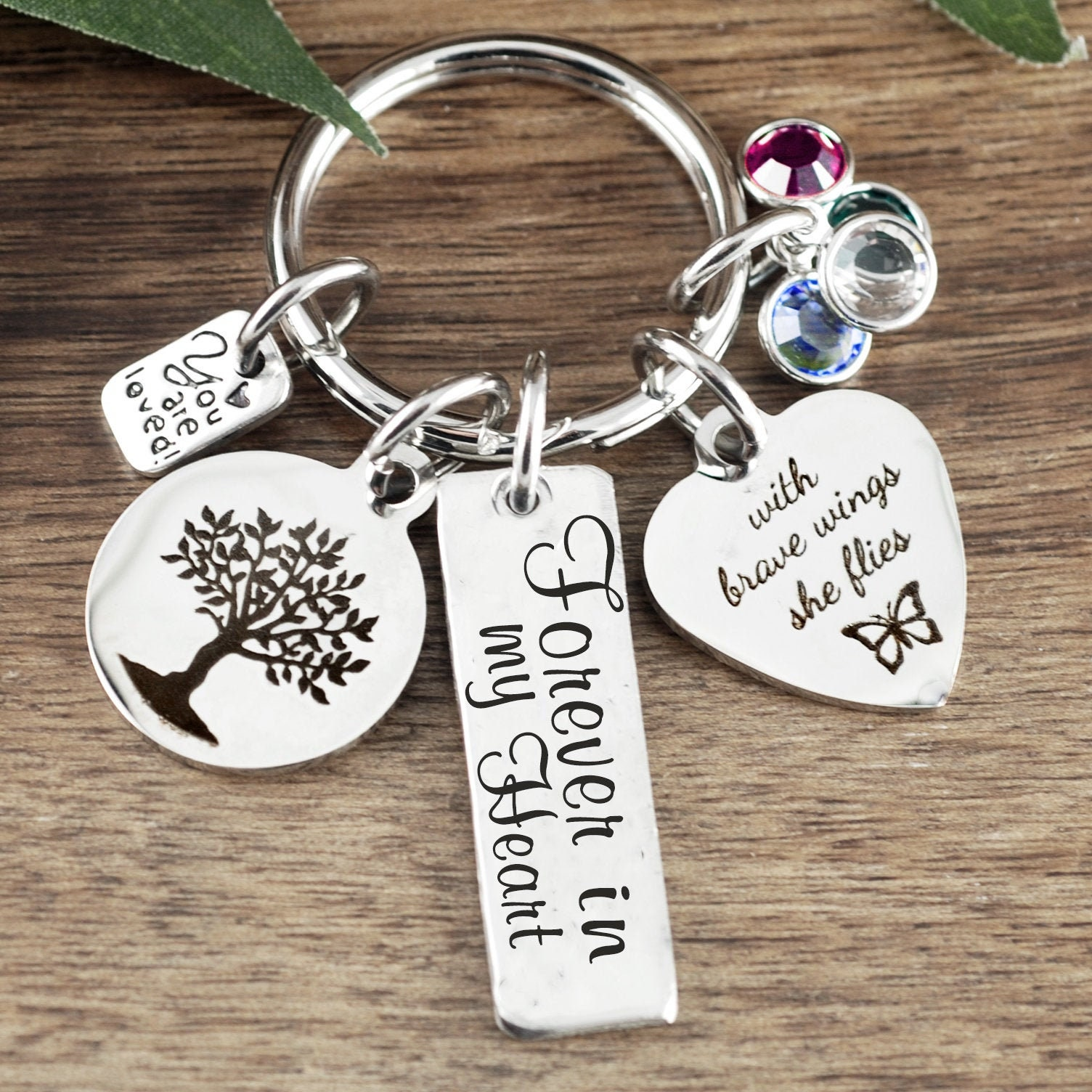 fb2741fa49533 Personalized Memorial Keychain, Forever in my Heart, Birthstone ...