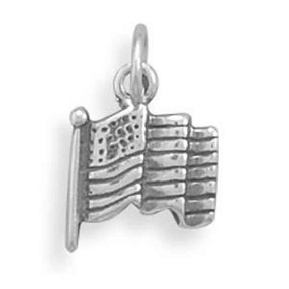 American Flag Charm, Add a Flag Charm, Sterling Silver Flag