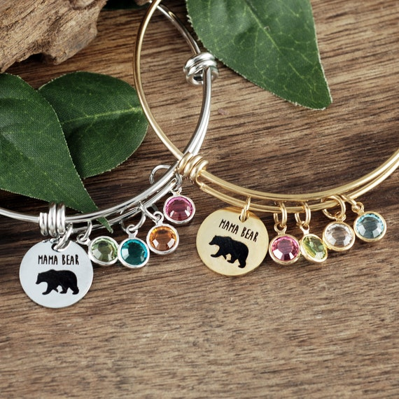 Mama Bear Bracelet, Mom Gifts, Christmas Gifts for Women, Mom Birthstone Bracelet, Mom Jewelry, Mama Bear Gift, Mothers Day Jewelry
