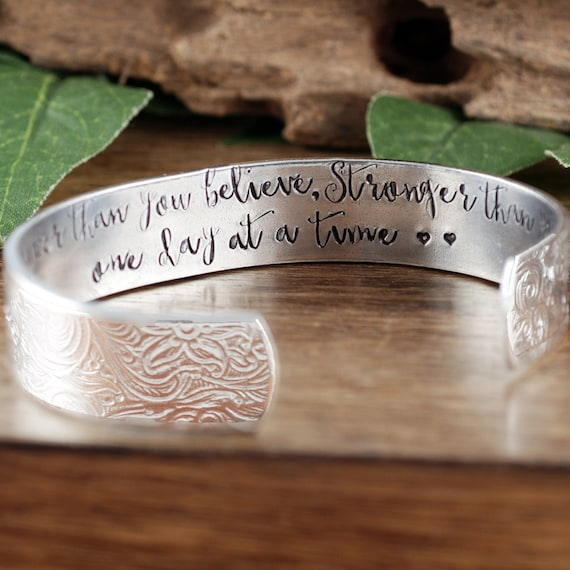 Inspirational Bracelet, You are braver than you Believe, Stronger than you seem, One Day at a Time, Secret Message Cuff Bracelet