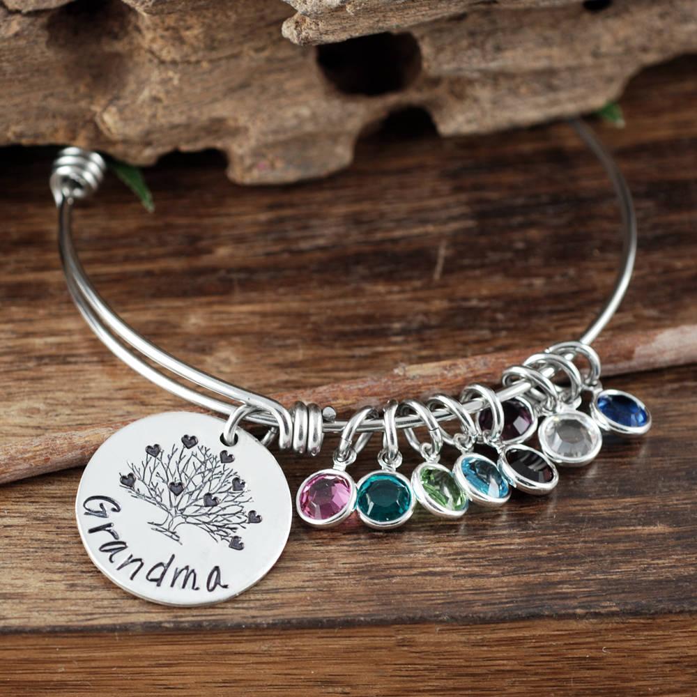 f354cd1d3bb66 Grandma Bracelet,Personalized Birthstone Bracelet, Silver Charm ...