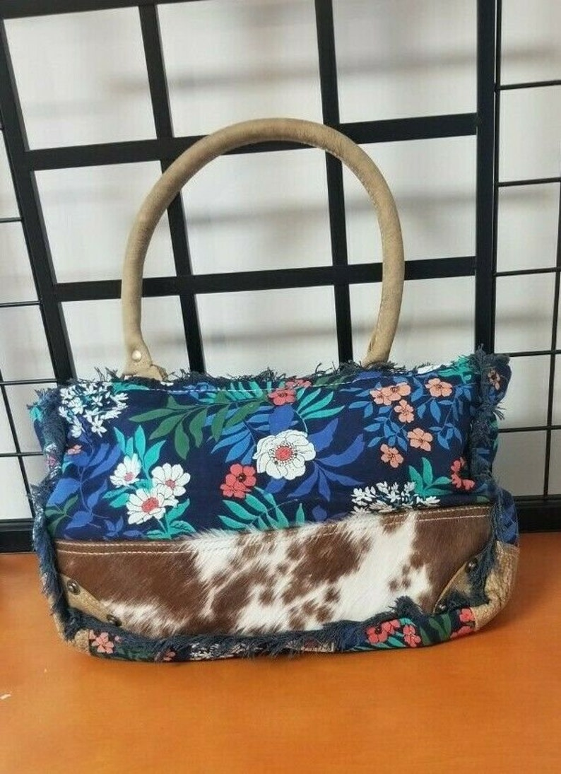 Hairon and Leather Handle Weekender Tote Colorful Material