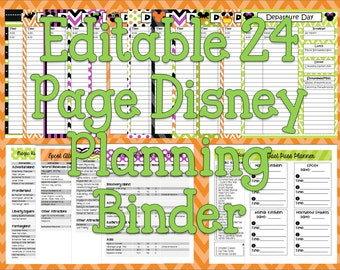 Instant Download Editable Disney Halloween Planning Binder, Binder Cover, Agenda, Itinerary, Mickey Mouse