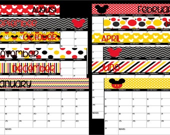 Editable Mickey Mouse Disney Themed Calendar-Instant Download