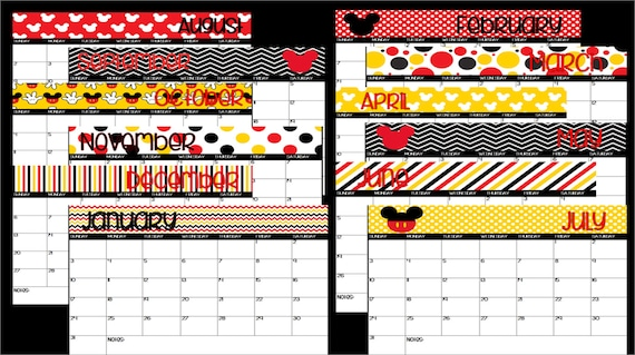 2021 Printable Mickey Mouse Disney Themed Calendar Instant Etsy