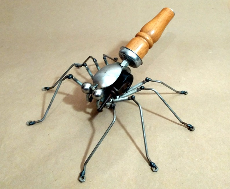 The Brown Welded Assemblage Spider Steampunk Robot Sculpture image 0