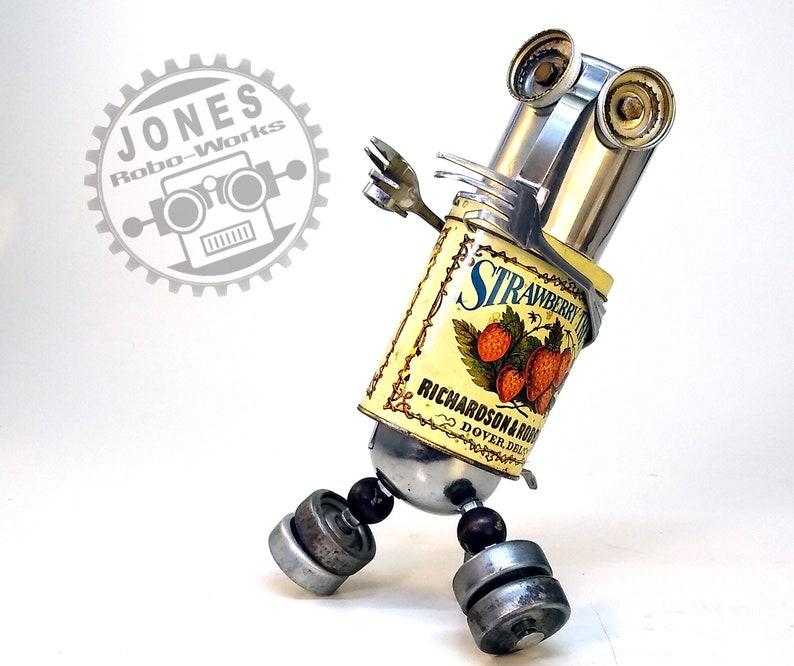 Strawberry Traveling Treat Bot Steampunk Assemblage Robot image 1
