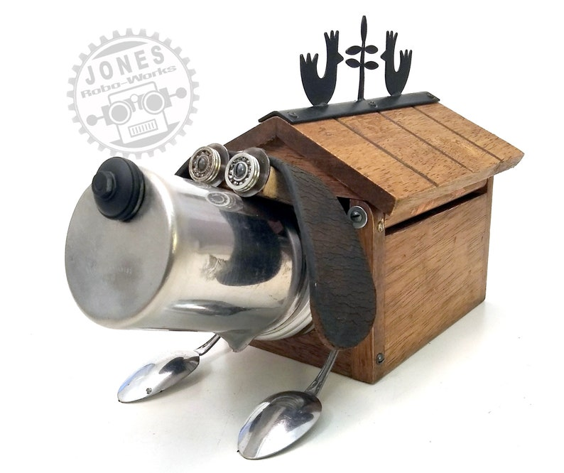 The House Thermo Doggie Bot  Found Object Robot Sculpture image 0