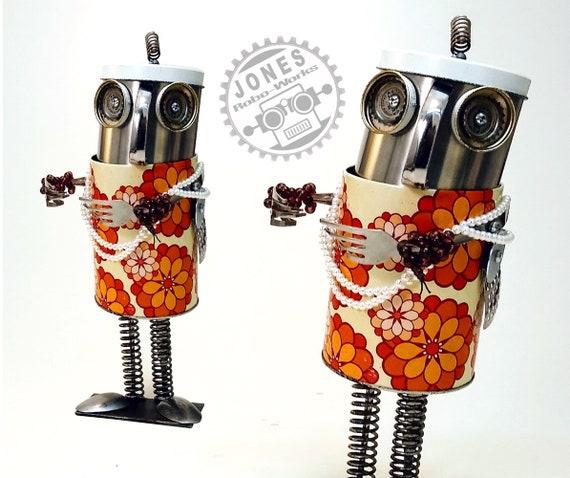 Strawberry Traveling Treat Bot Steampunk Assemblage Robot Sculpture