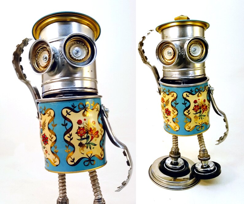 The Happy Mr. Foley Bot Steampunk Assemblage Robot Sculpture image 0