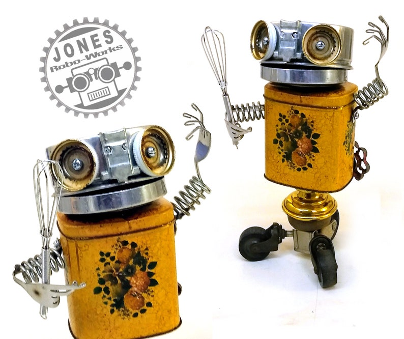 Old Mirro Roll-X-Bot Steampunk Assemblage Robot Sculpture By image 0