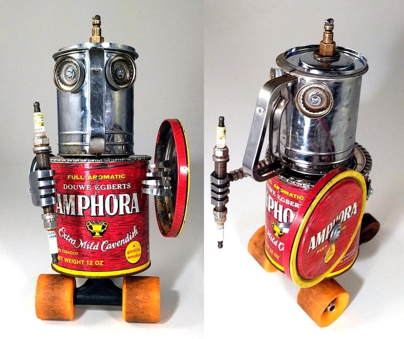 Old Amphora Rolling Warrior Steampunk Assemblage Robot image 0