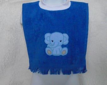 Elephant baby bib, fingertip towel bib, elephant machine applique,royal blue, pullover style, terrycloth baby bib, baby shower gift, new mom