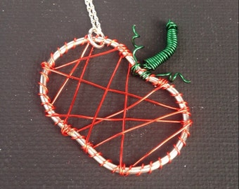 Silver Wire Wrapped Pumpkin Necklace