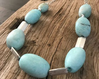 amazonite egg with thai silver necklace