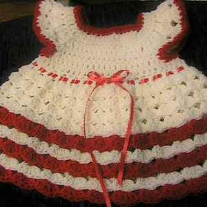 Size 3-6 Month Christmas or Valentines Dress Crocheted Dress READY to Ship SALE