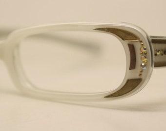 Small White 1950 cat eye eyeglasses rhinestone cateye frames