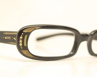 Small Black 1950 cat eye eyeglasses rhinestone cateye frames
