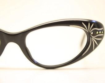 8076dffa4c Small Unused White Rhinestone Cat Eye Glasses New Old Stock