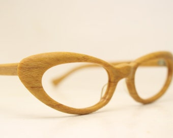 82d0a2df54 Small Woodgrain cat eye glasses vintage 1950s eyewear cateye frames