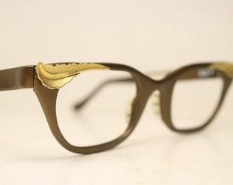 9b10cb8d7d8 Unused Vintage Tura Brown Cat Eye Glasses Aluminum NOS