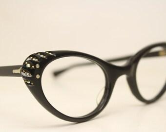 b7731f31ae24 Small Cat Eye Glasses Unused Black Rhinestone vintage cateye eyeglasses  frames