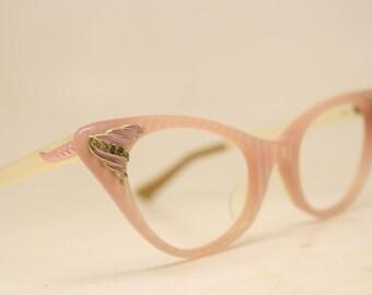 Cat Eye Frames Pink Rhinestone Vintage Cateye Glasses