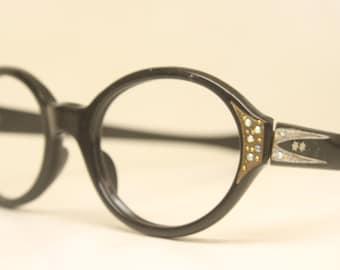 Vintage Glasses Unused Oval Rhinestone Cat Eye Glasses