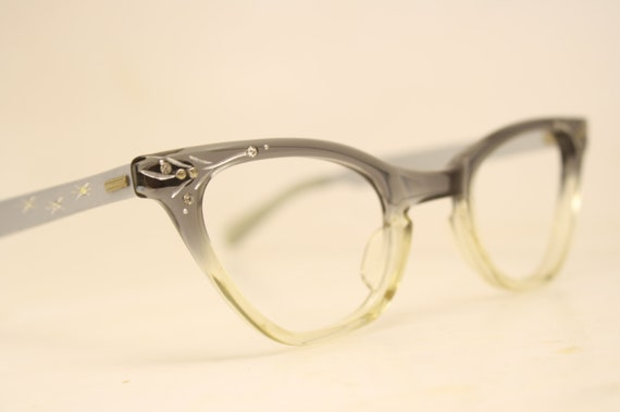 e1704c7e5e6 Unused Gray Fade Rhinestone Vintage Cat eye glasses cat eye