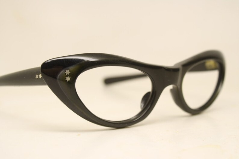 ce93d5606d2 Small Unused Black Brown cat eye glasses vintage cateye