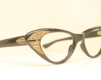 Vintage Glasses Unused Black Rhinestone Cat Eye Glasses