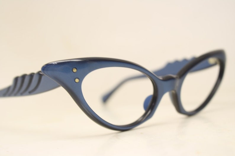 93361c661e2 Small Blue cat eye glasses vintage 1950s eyewear cateye frames