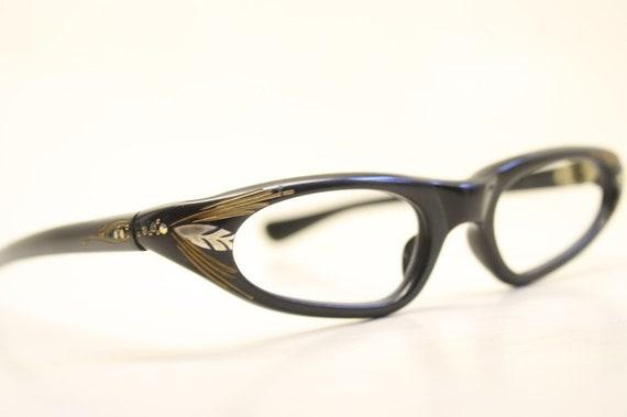 b83c3fe1c1 Unused Black Gold Rhinestone Cat Eye Glasses New Old Stock