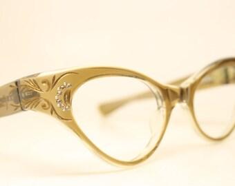 Brownsmoke cat eye glasses black  vintage cateye eyeglasses