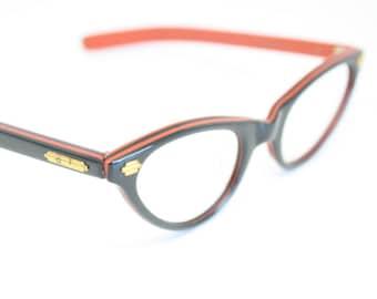 Black Red vintage cat eye glasses cat eye frames New Old Stock