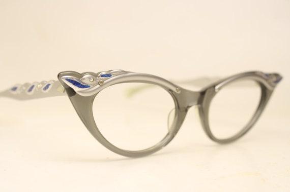 5851640197b Small Cat Eye Glasses Unused Gray Blue Rhinestone Vintage