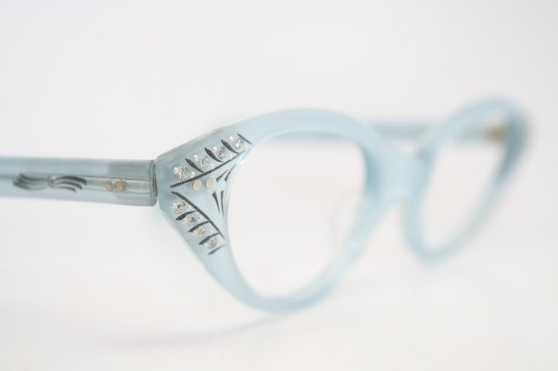 cc4a0c0dd84 Blue Cat Eye Eyeglasses Vintage Rhinestone Cat Eye Frames NOS