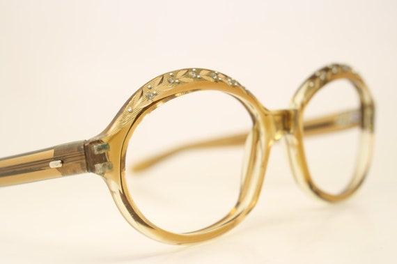 88c346385d NOS Vintage Brownsmoke Rhinestone 1960 s Eyeglasses Cateye
