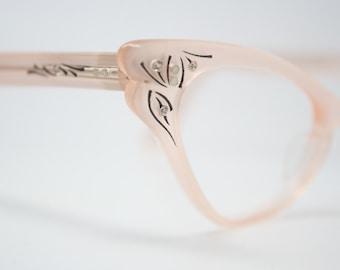 cat eye glasses Pink rhinestone vintage 1950s eyewear cateye frames