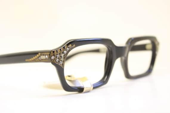 c86659d242 Unused Black Rhinestone Cat Eye Glasses New Old Stock