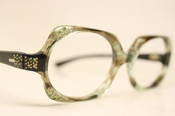 NOS Vintage Rhinestone Green 1960's Eyeglasses Cat