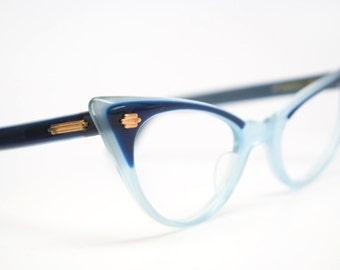 Blue cat eye glasses 2 tone vintage cateye eyeglasses