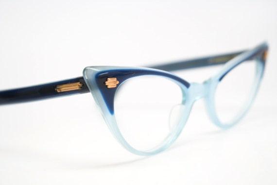 61cc38529fb Blue cat eye glasses 2 tone vintage cateye eyeglasses
