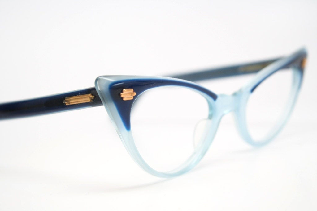 Blaue Katzenauge Gläser 2 Ton Jahrgang Cateye Brille | Etsy